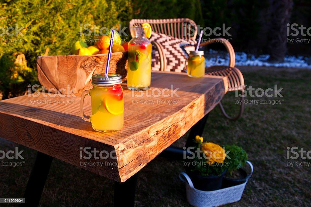 Country Lemonade at garden stock photo