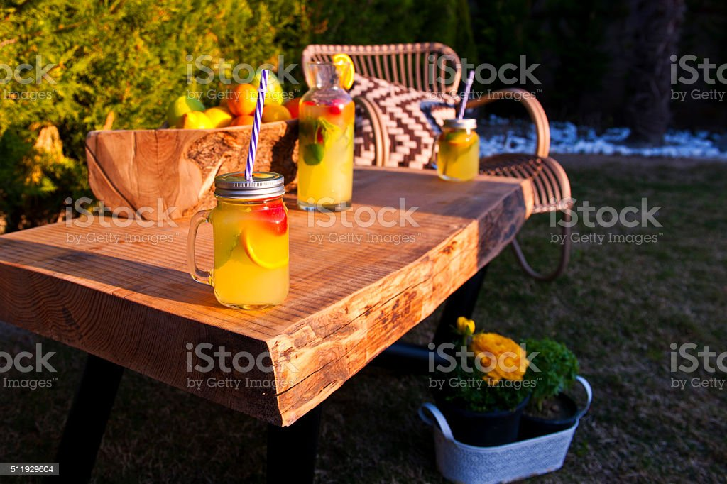 Country Lemonade at garden stock photo