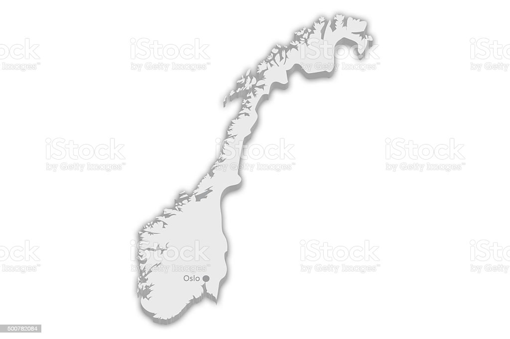 Country Map: Norway with captial city marker Oslo stock photo