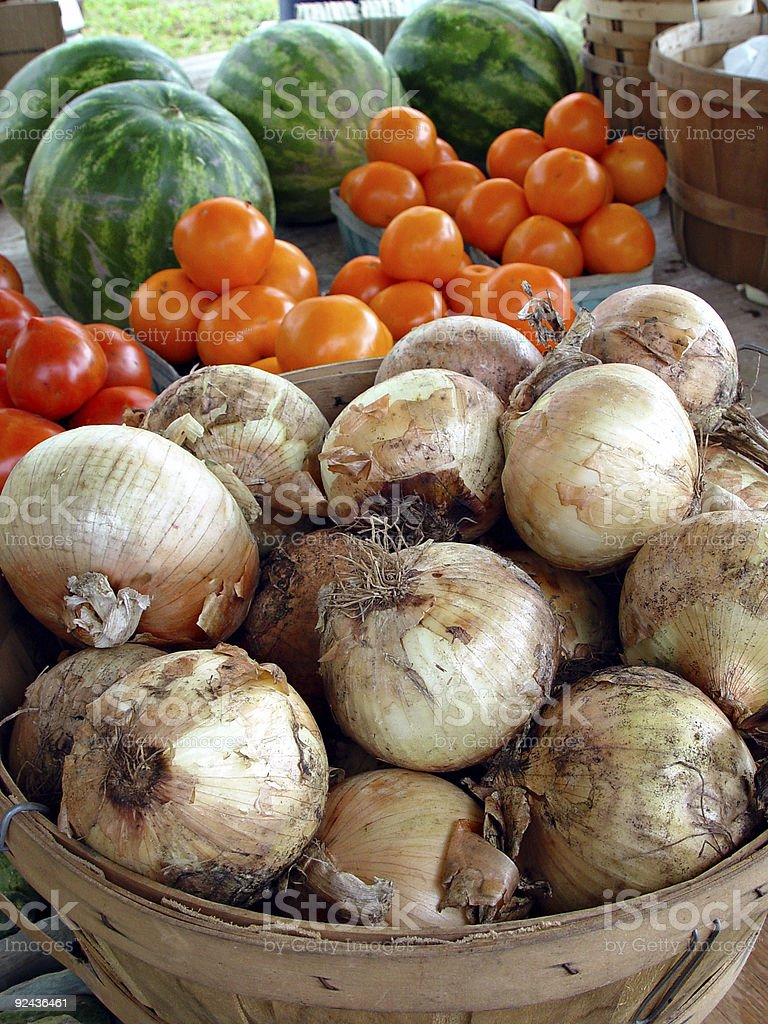 Country Market Onions in Basket royalty-free stock photo