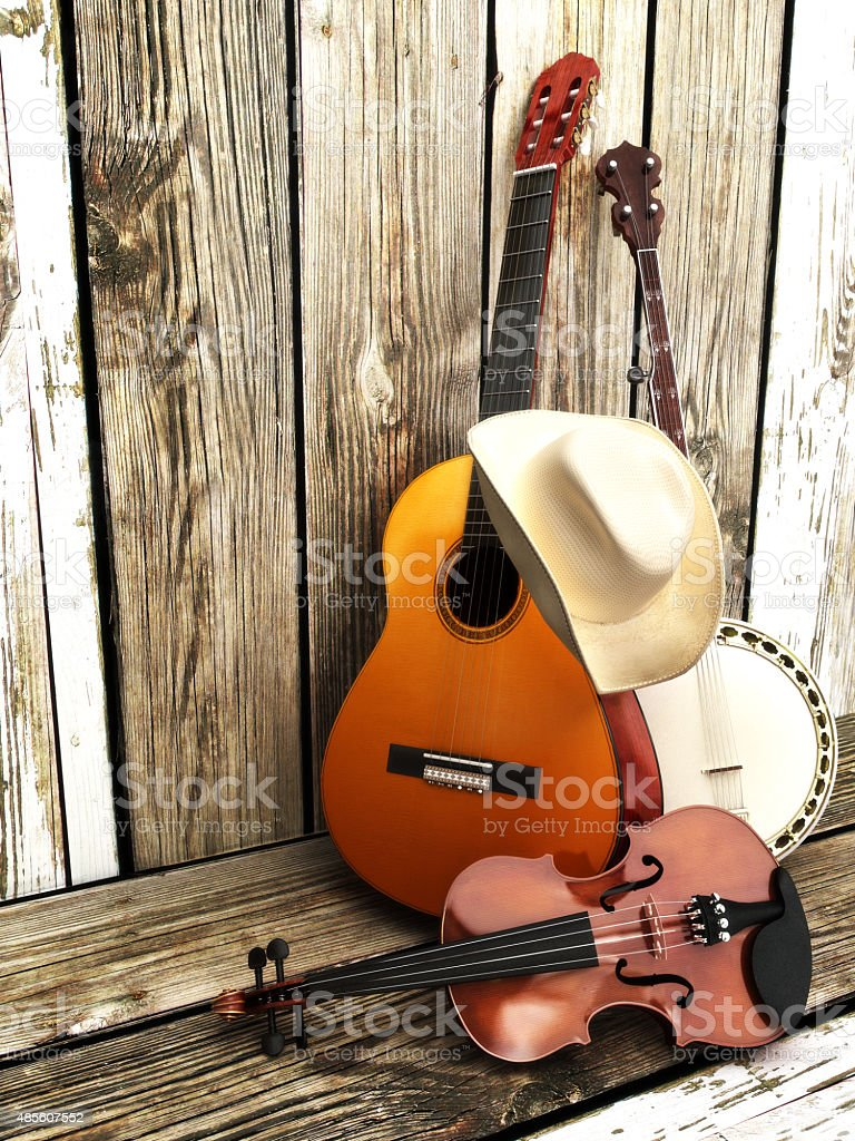 Country music background with stringed instruments stock photo