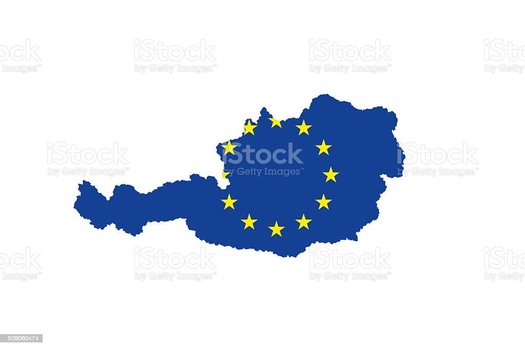 Country of Austria filled with EU Flag stock photo