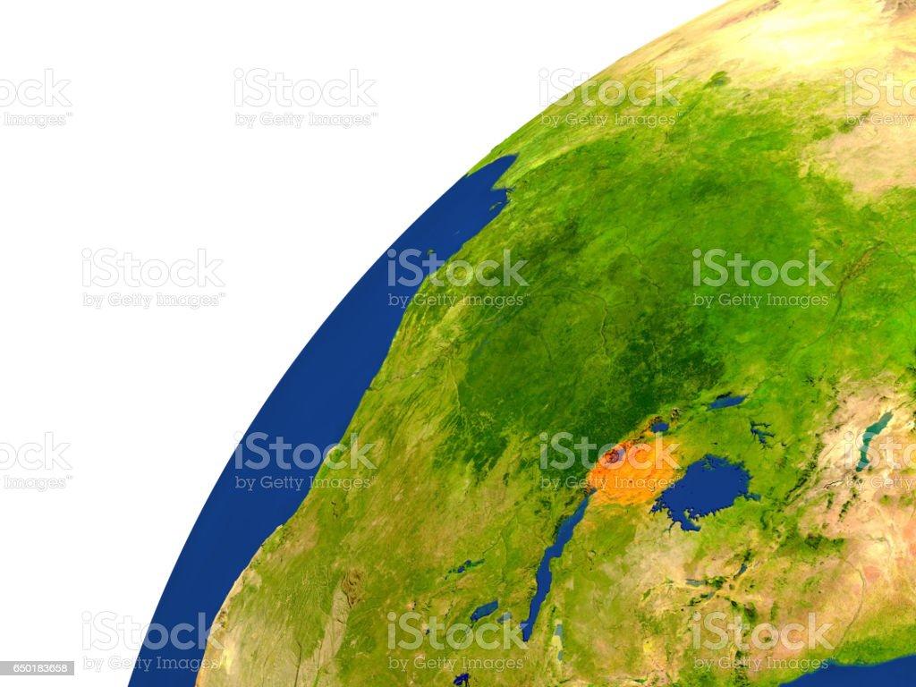 Country of Rwanda satellite view stock photo
