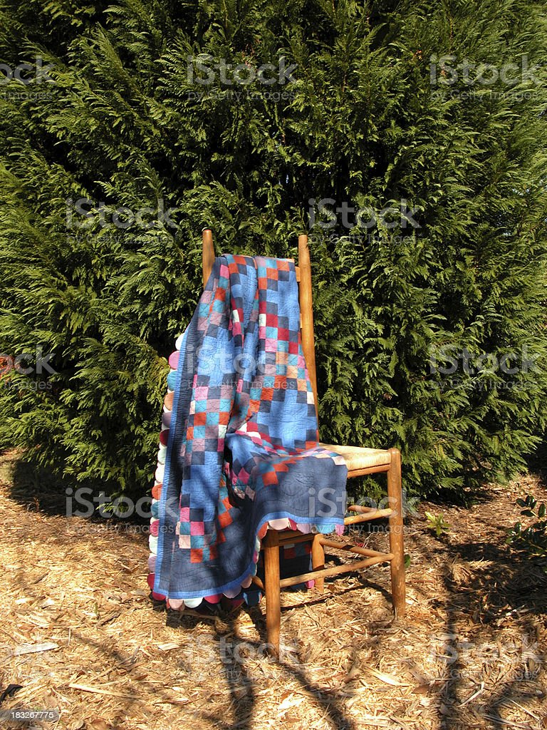 Country Quilt and Chair stock photo