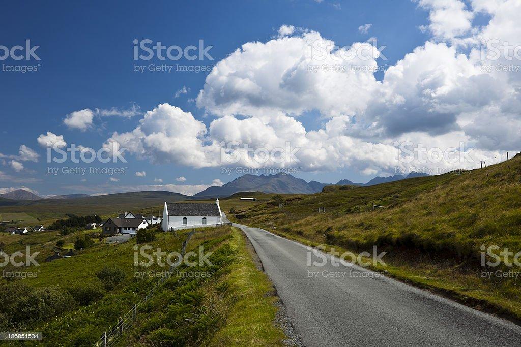 Country Road and Church, Isle of Skye, Scotland, UK stock photo