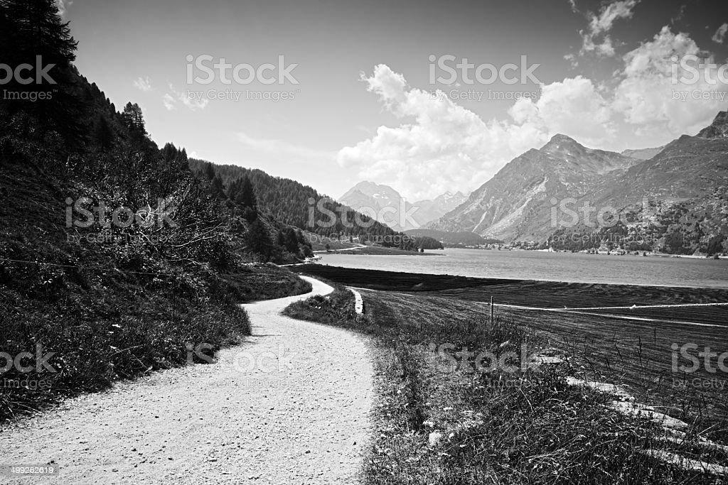 Country Road around Sils lake (Switzerland) royalty-free stock photo