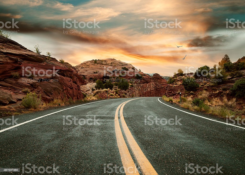 Country Road at dusk stock photo