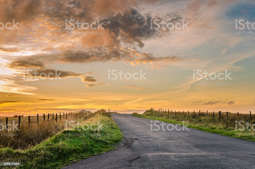 Country Road at Sunset stock photo