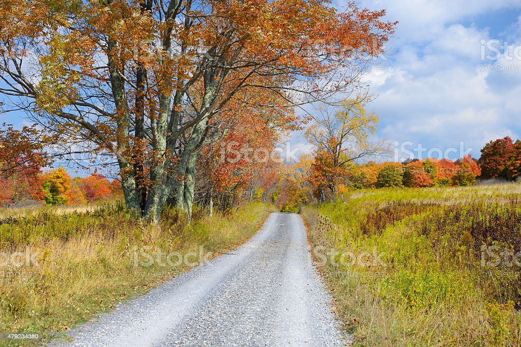 Country Road in Autumn in West Virginia stock photo