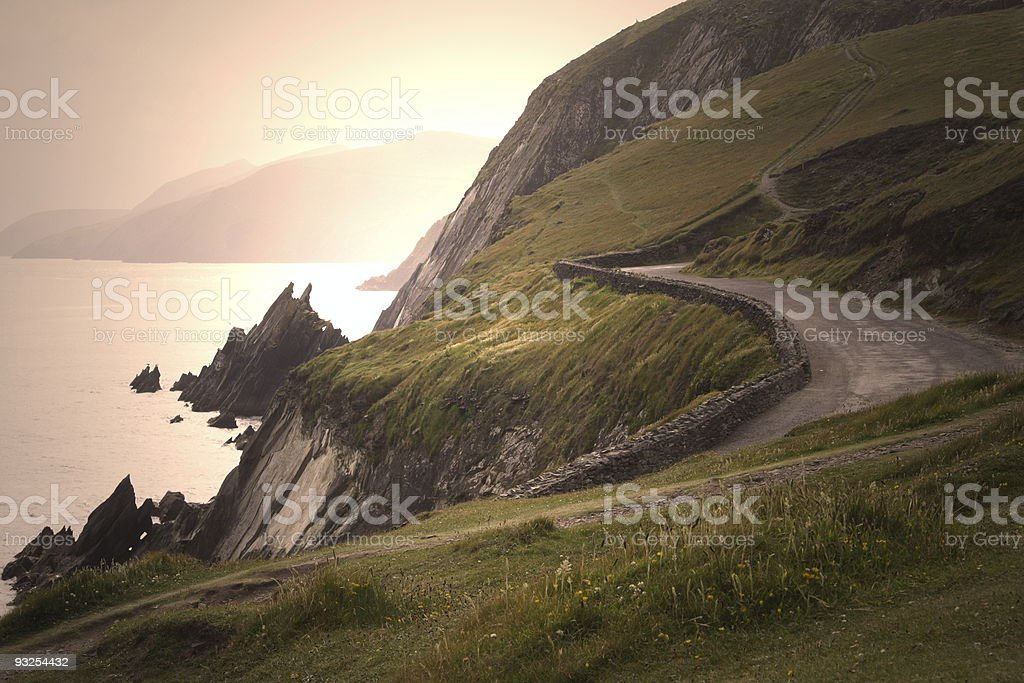 Country Road in Irland Sunset stock photo