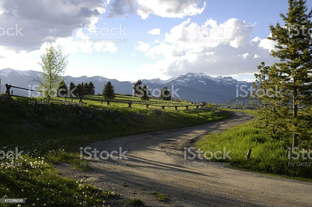 Country Road in Jackson, Wyoming stock photo