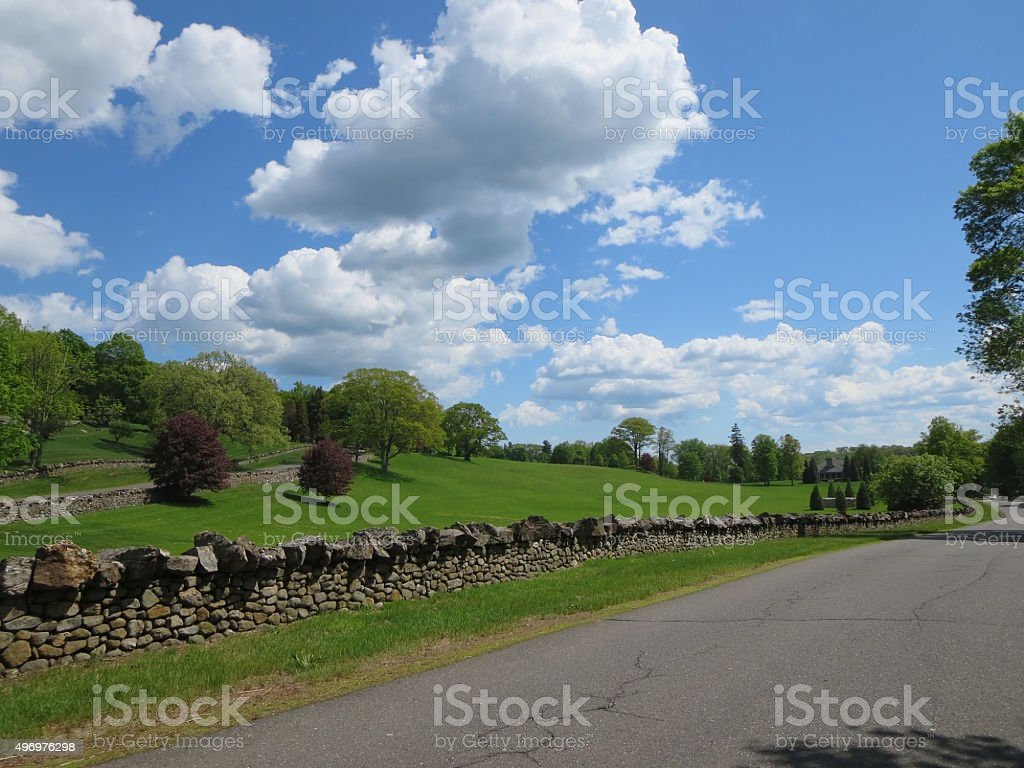 Country road in New England stock photo
