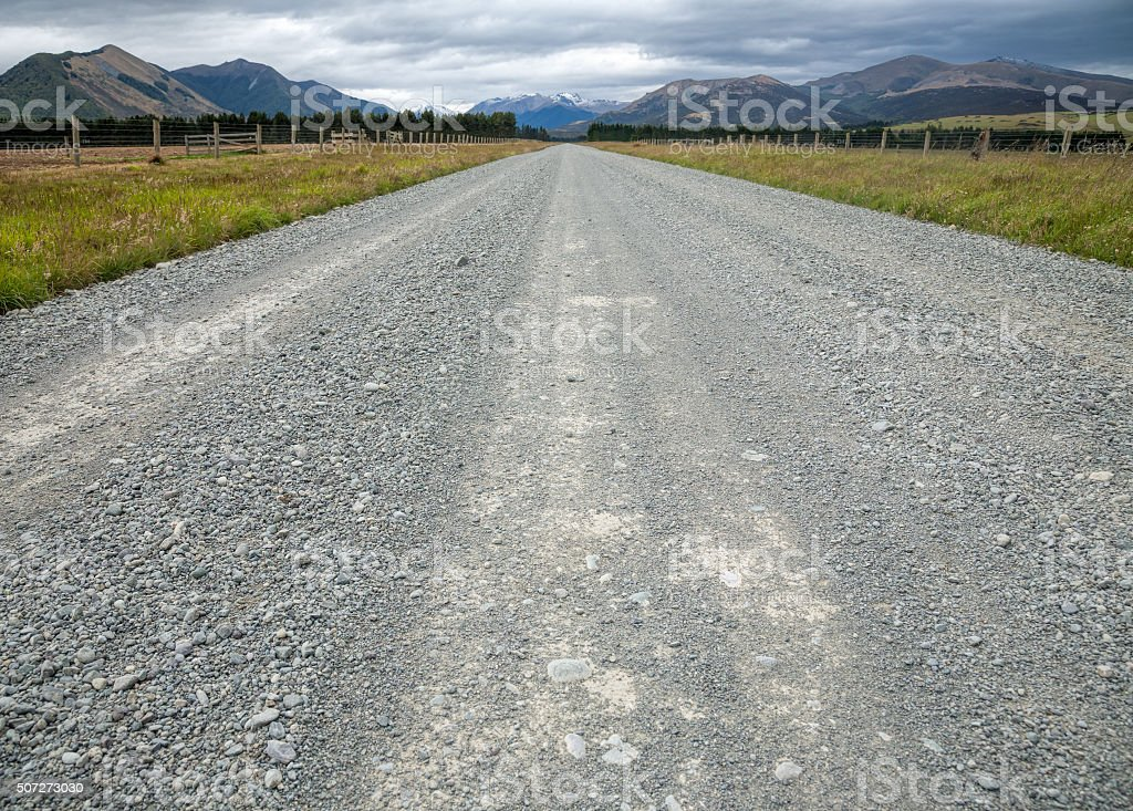 Country road in New Zealand stock photo