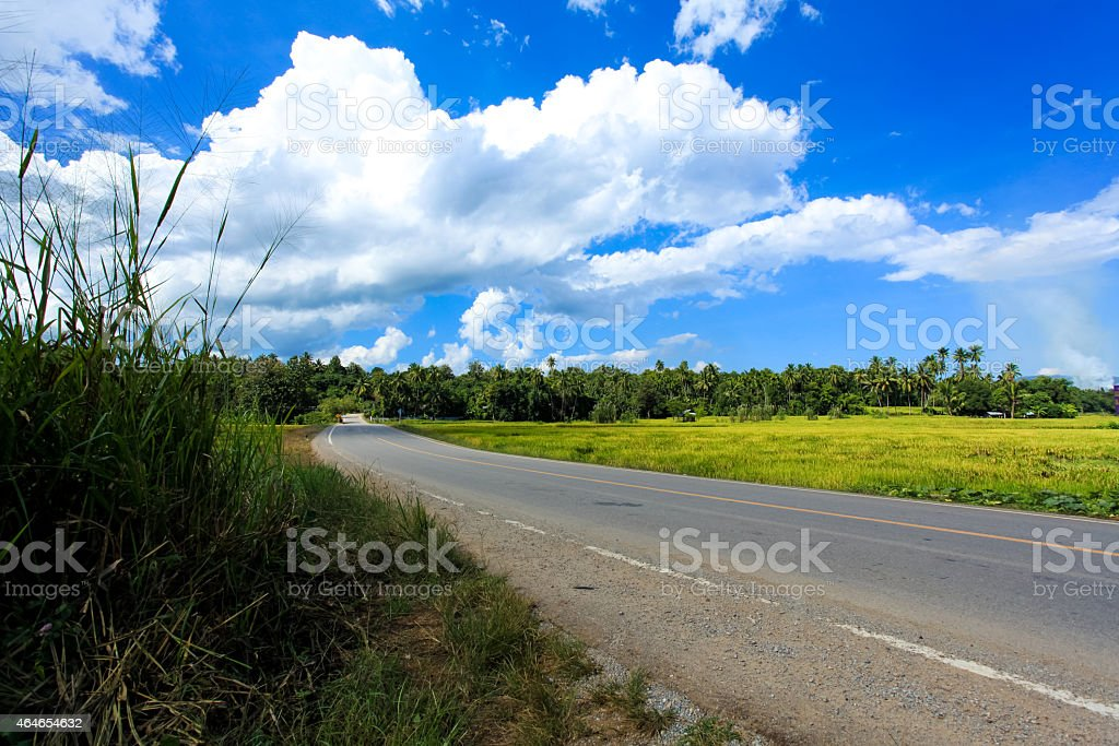 Country road in North Thailand stock photo