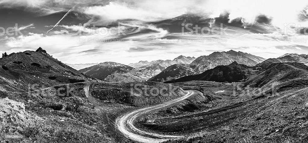 Country Road in the Alps, Panoramic View royalty-free stock photo