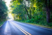 Country road in the morning with sunlight , blurred effect