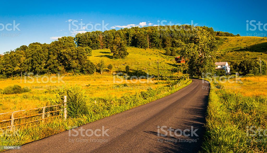 Country road in the rural Shenandoah Valley of Virginia. stock photo