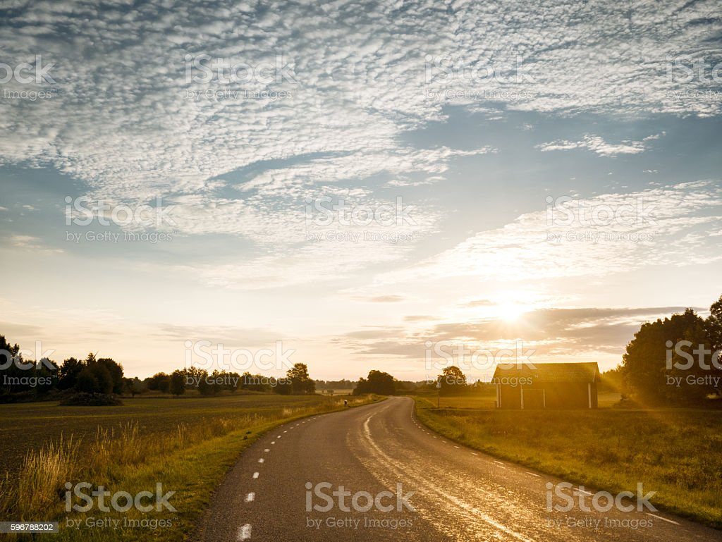Country road in the sun rise stock photo