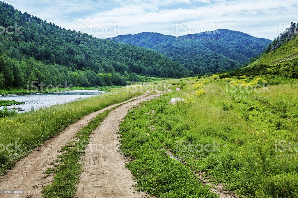Country road in the valley. royalty-free stock photo