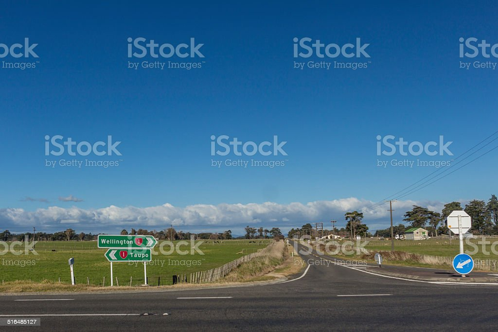 Country Road intersection stock photo