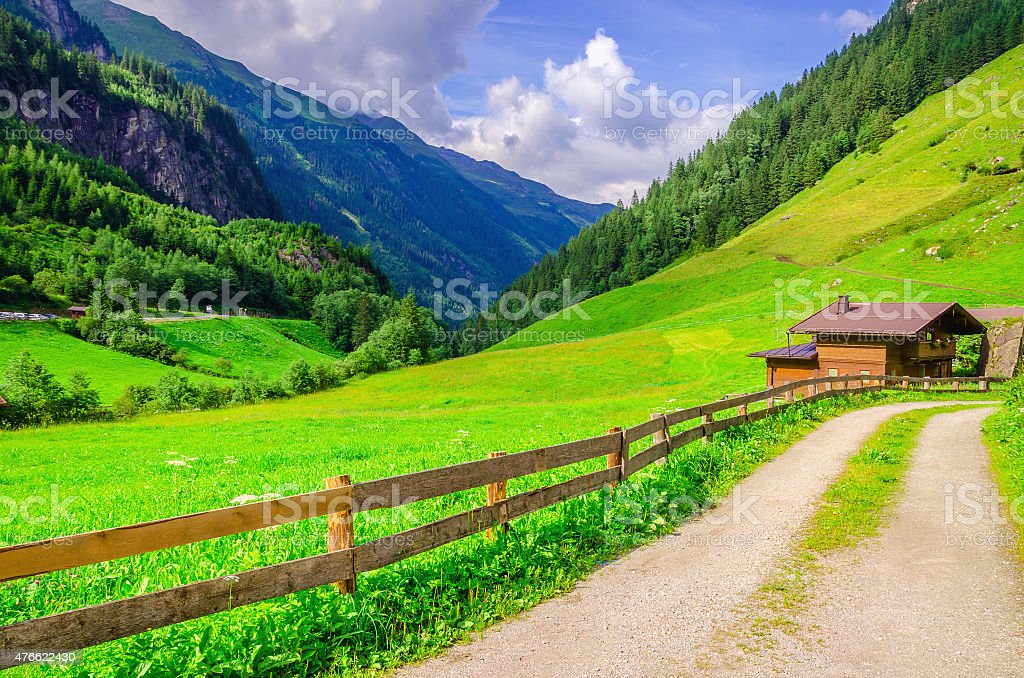 Country road leading to the alpine houses, Austria stock photo