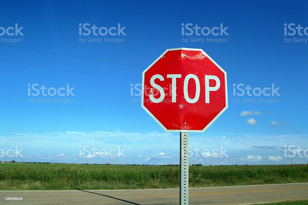 Country Road Stop Sign stock photo