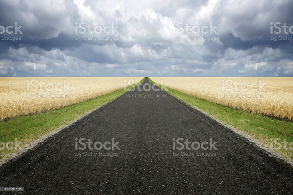XXL country road storm clouds stock photo