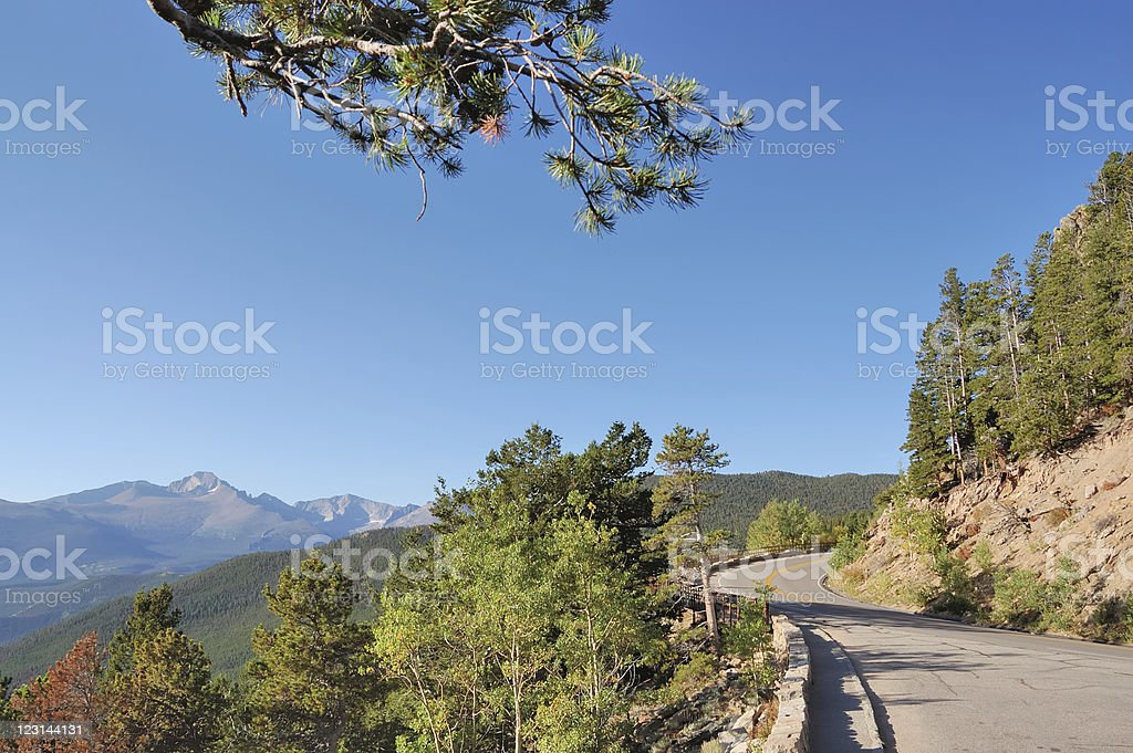 Country road through Rocky Mountains on summers day royalty-free stock photo
