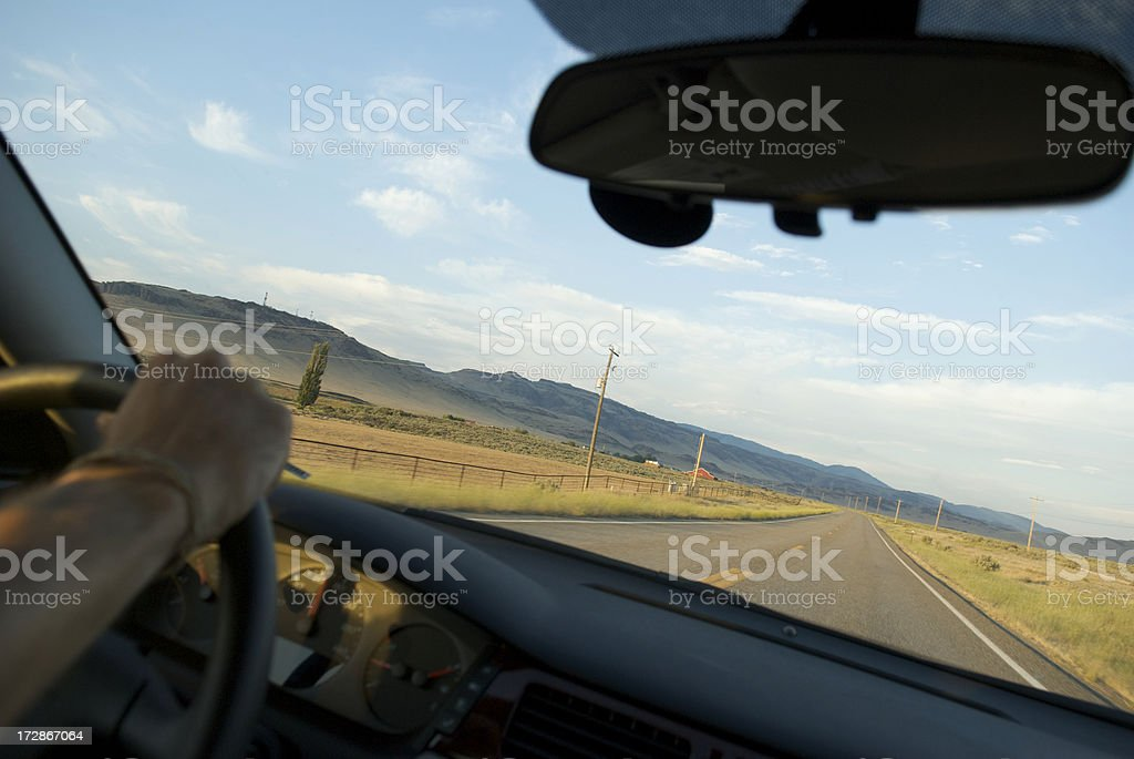 Country Road through the Windshield royalty-free stock photo