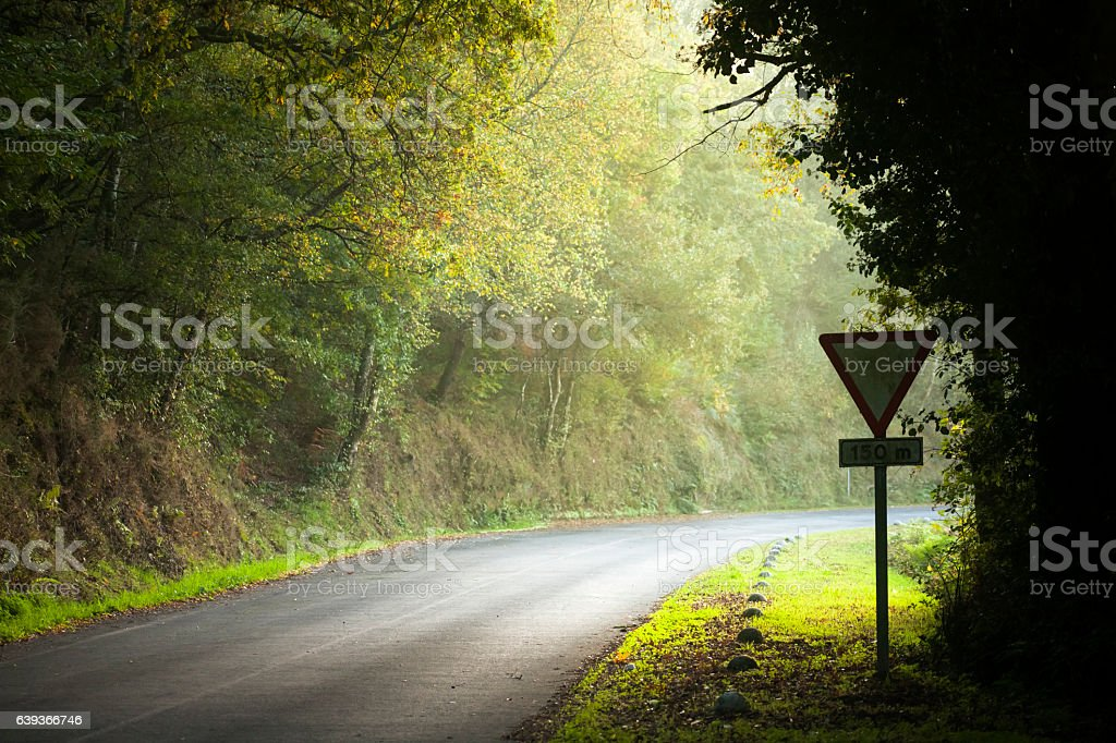 Country road, warning road sign stock photo