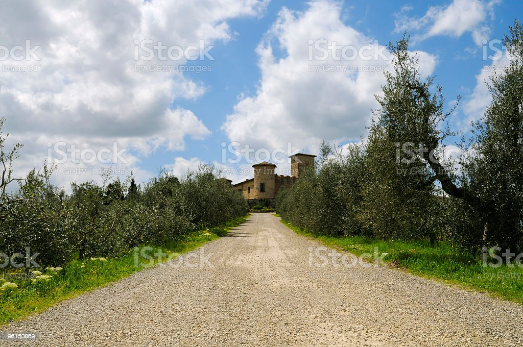 Country Road with Castle and Olive Trees royalty-free stock photo
