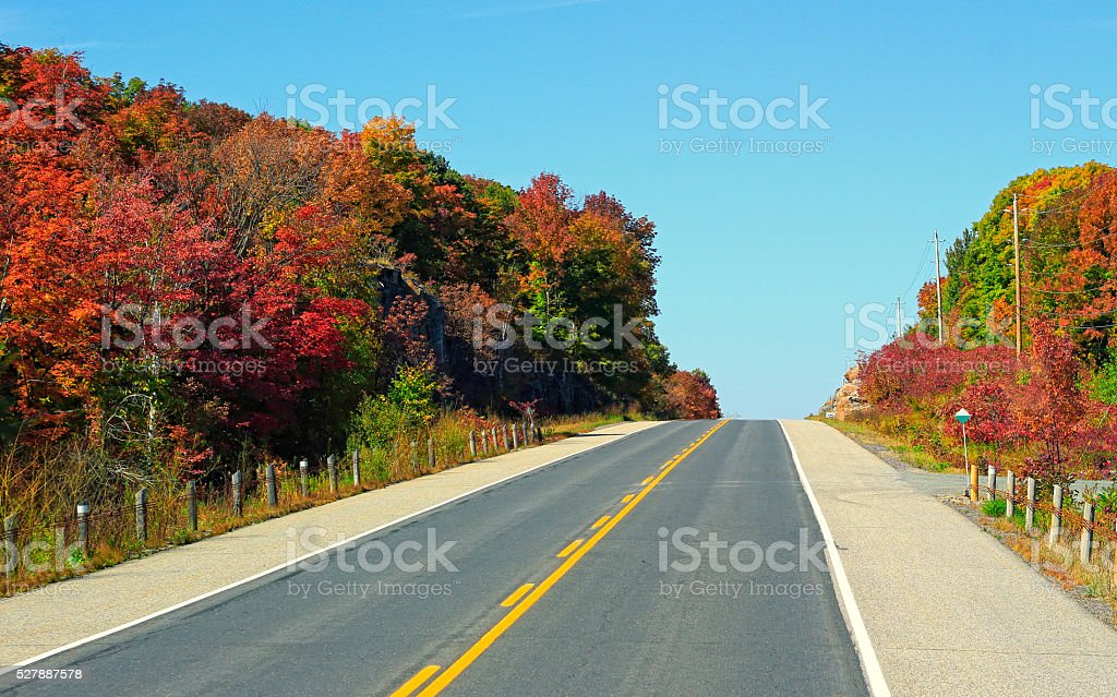 Country Road with Fall Colors stock photo