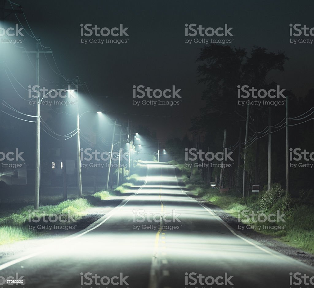 Country Road with LED Street Lights stock photo