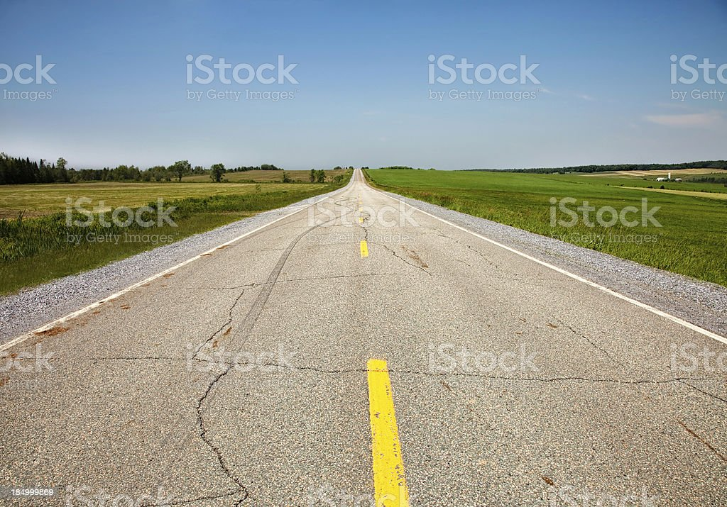Country road with skid marks royalty-free stock photo
