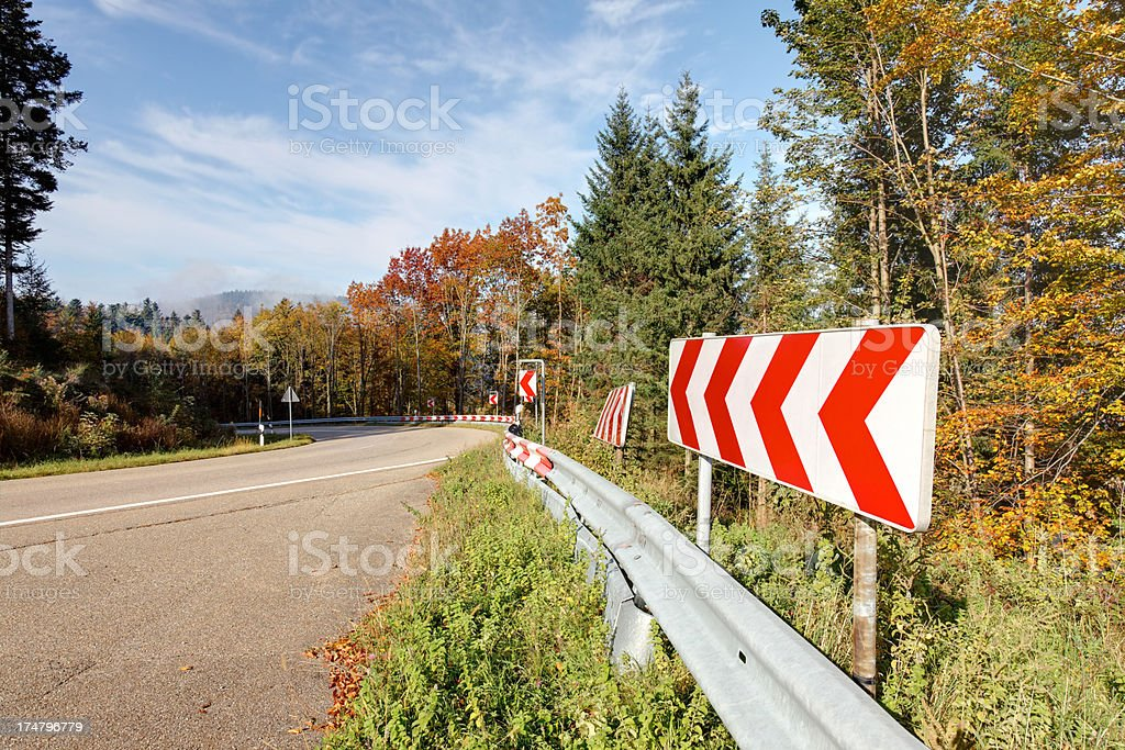 country road with warning sign royalty-free stock photo