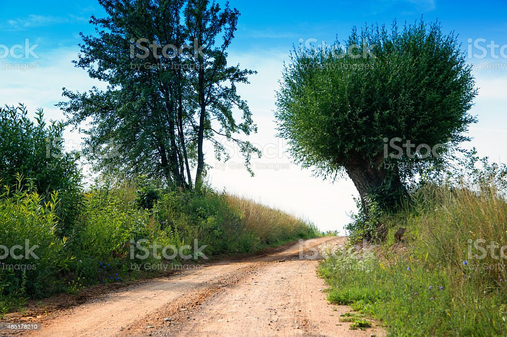 country road wriggling up stock photo