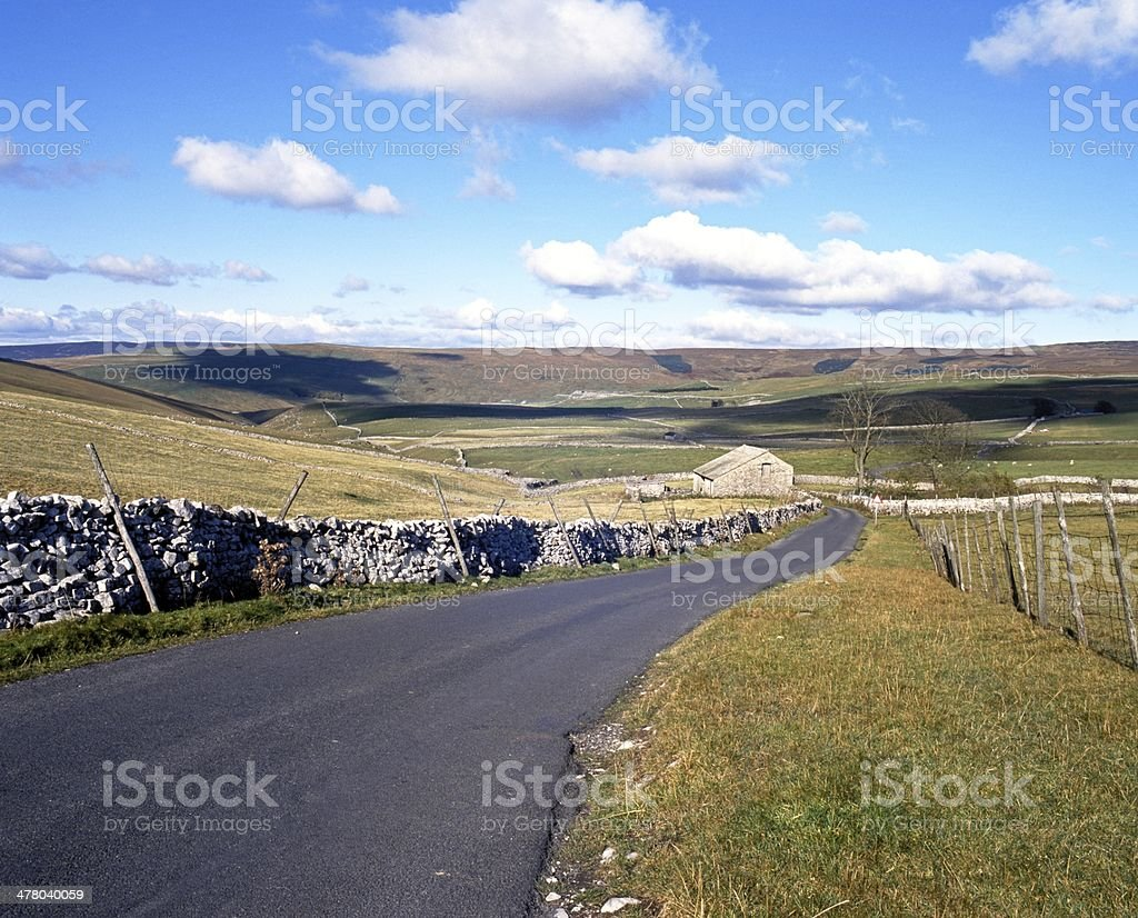 Country road, Yorkshire Dales, England. royalty-free stock photo