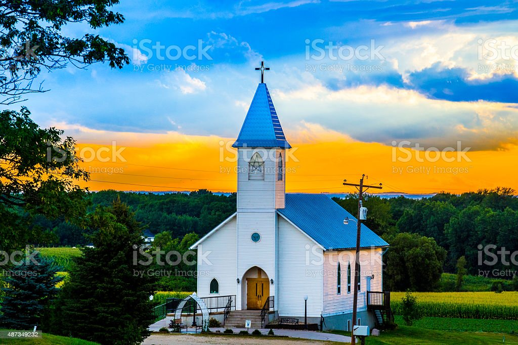 Country side church stock photo