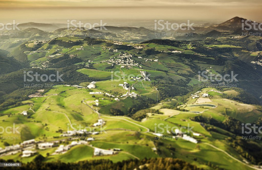 Country side Landscape, Aerial View, Tilt Shift stock photo