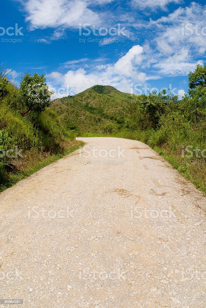 Country side road with mountain royalty-free stock photo