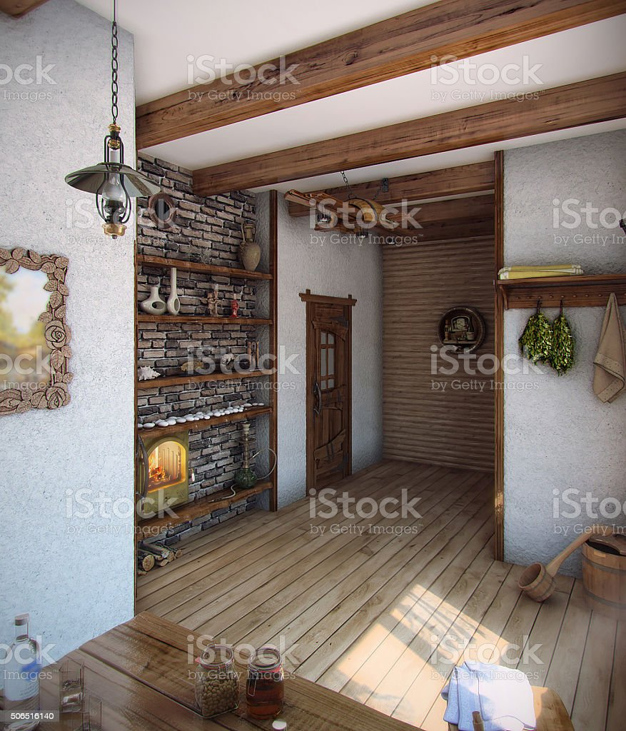 Country style bath house, 3D render stock photo
