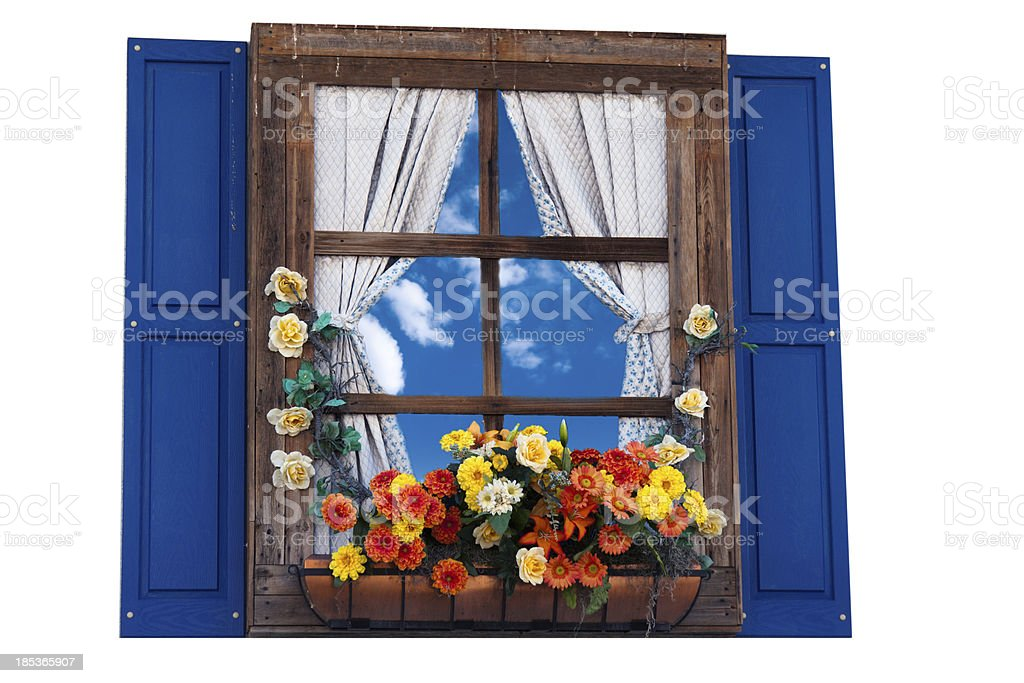 Country style window with flowers stock photo