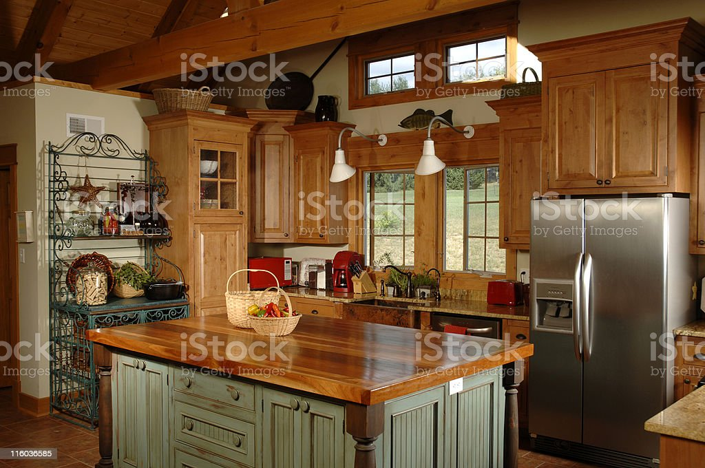 Country themed interior kitchen stock photo