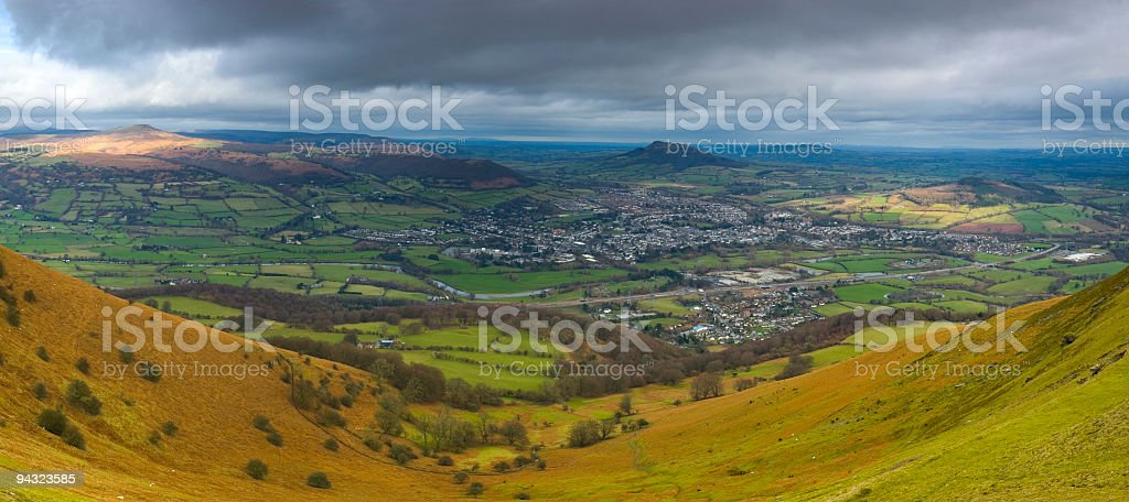 Country town in green valley stock photo