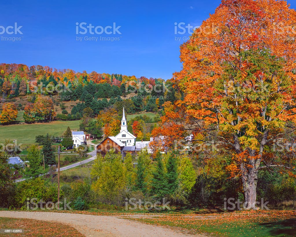 Country village in the Green Mountains of Vermont stock photo