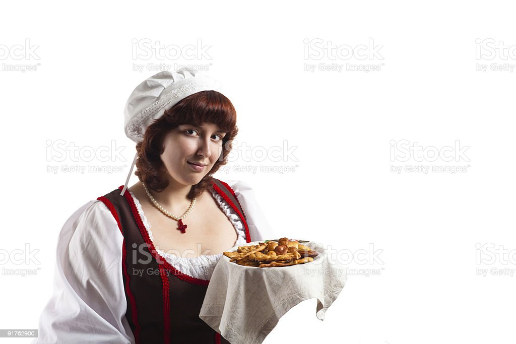 Country woman with pastry (period costume) royalty-free stock photo