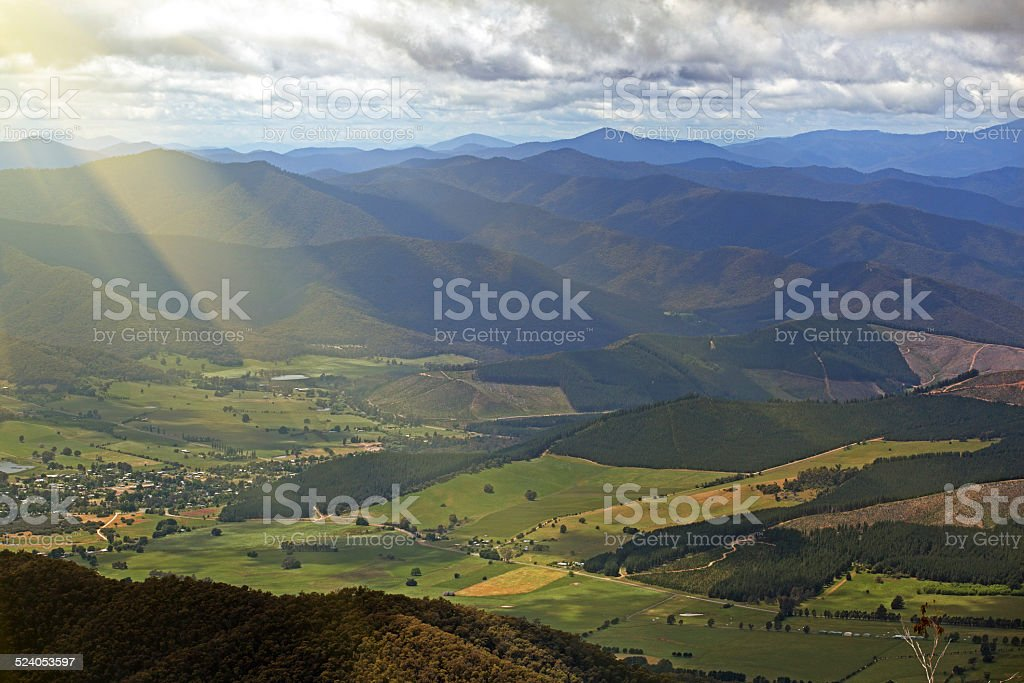 Countryside and Alps view from Mount Buffalo National Park stock photo