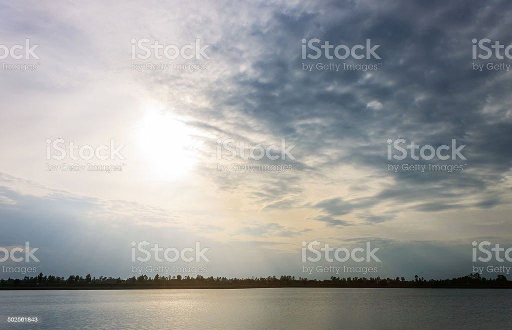 Countryside and lake scenery royalty-free stock photo