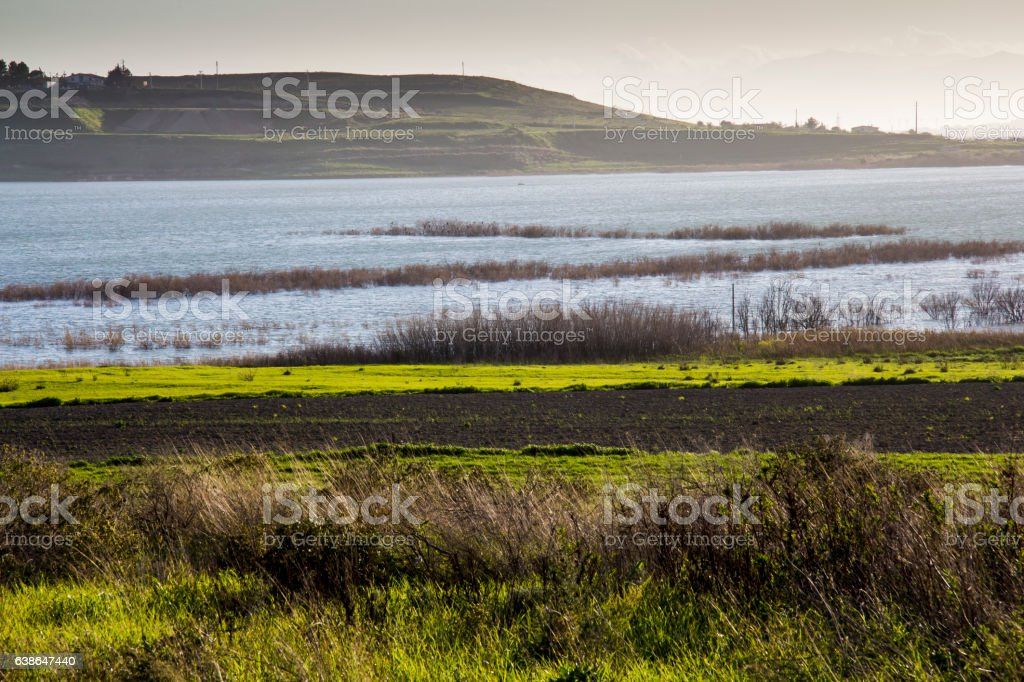 Countryside and lakes stock photo