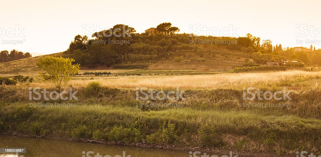 Countryside at sunset in Tuscany - Italy royalty-free stock photo
